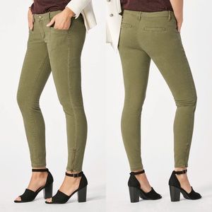 JustFab Side Zip Twill Ankle Moto Pant Olive Green